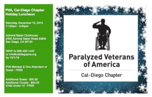 PVA, Cal-Diego Chapter Holiday Luncheon @ Admiral Baker Clubhouse | San Diego | California | United States